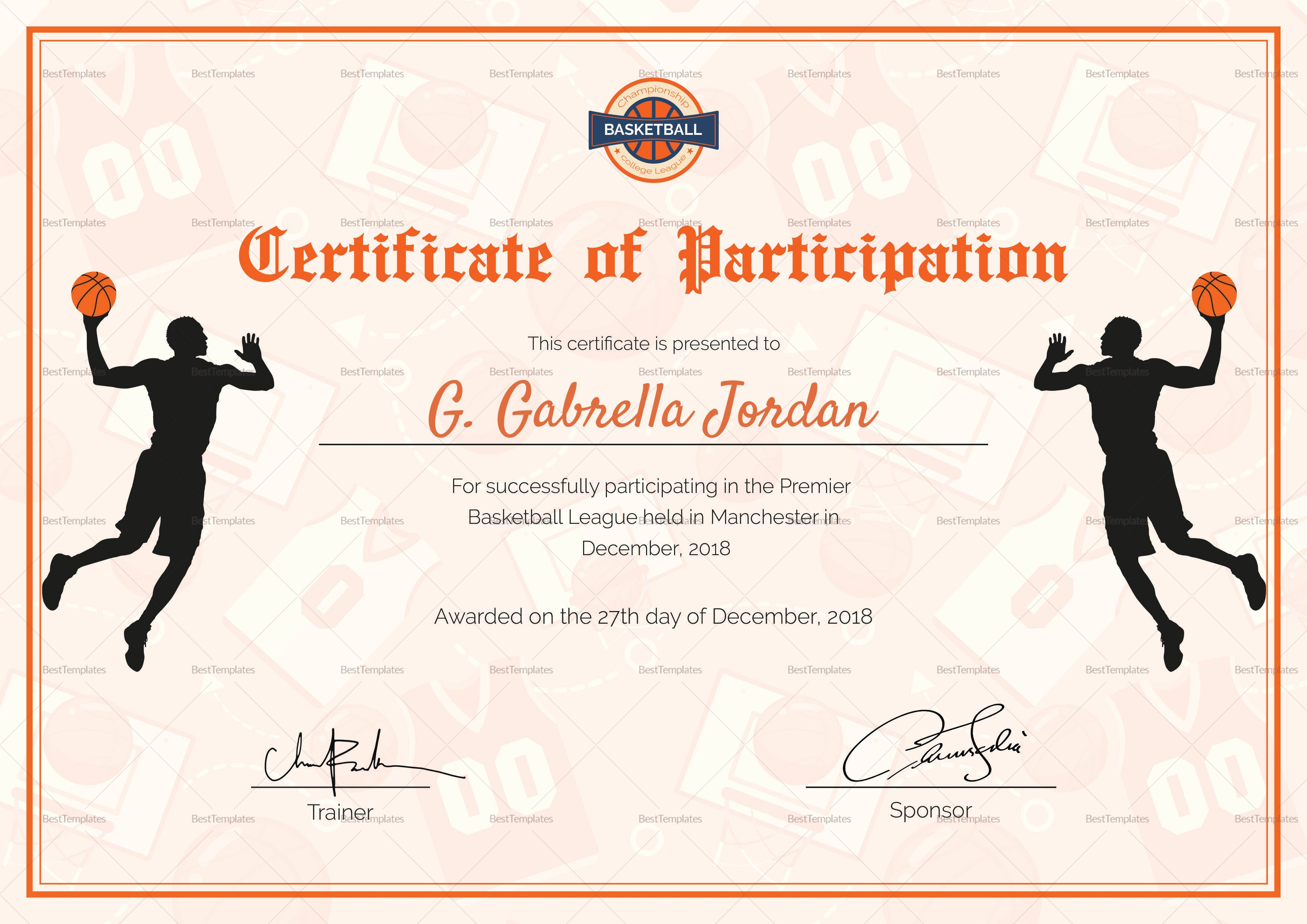 Certificate Of Basketball Participation Design Template In Psd Word Inside Player Of The Day Certificate Template