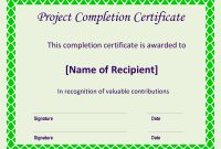 Certificate Of Completion Project  Templates At Allbusinesstemplates throughout Certificate Template For Project Completion