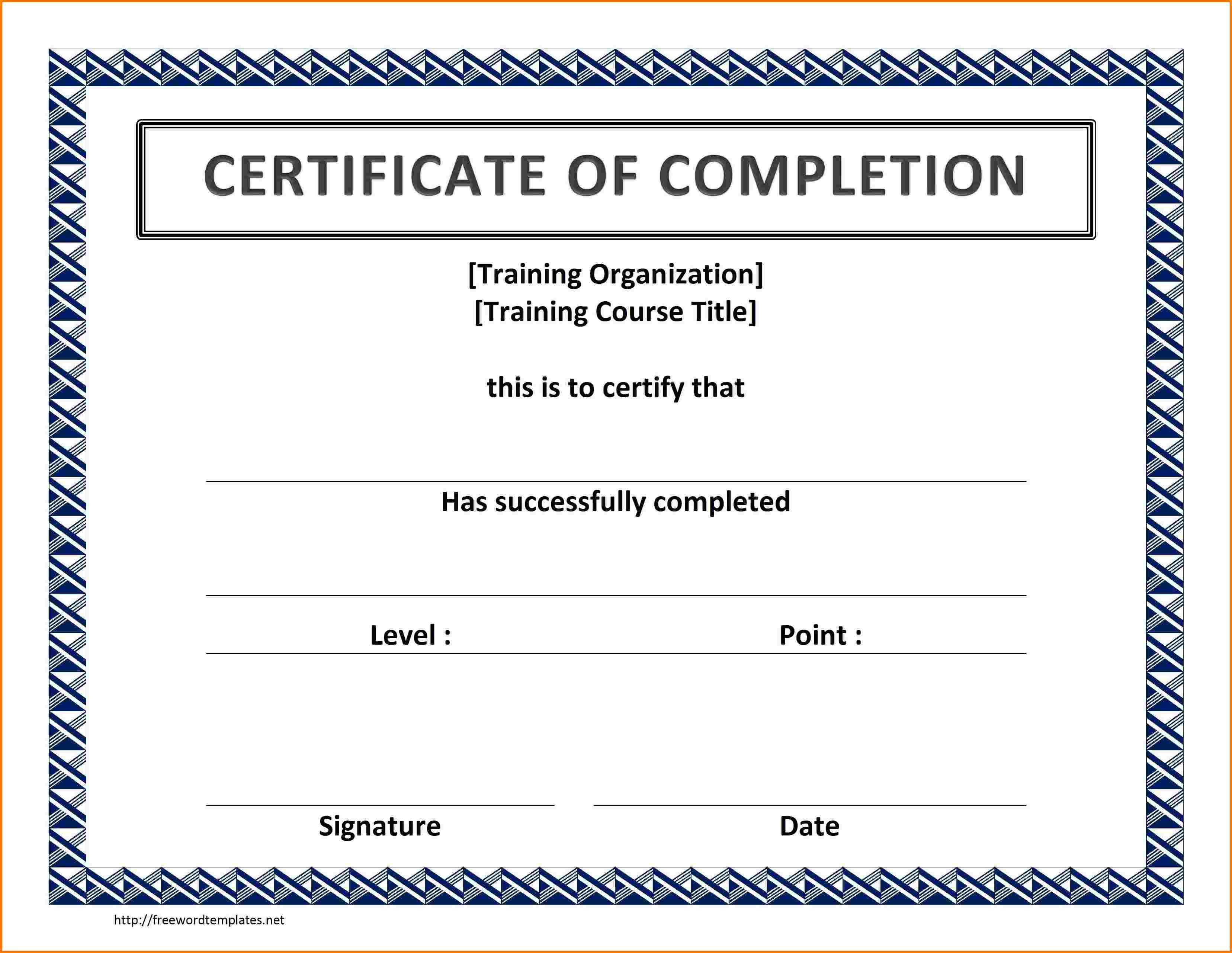 Certificate Of Completion Template Word Ideas Training Shocking In Training Certificate Template Word Format