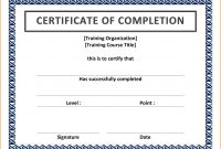 Certificate Of Completion Template Word Ideas Training Shocking intended for Free Certificate Of Completion Template Word