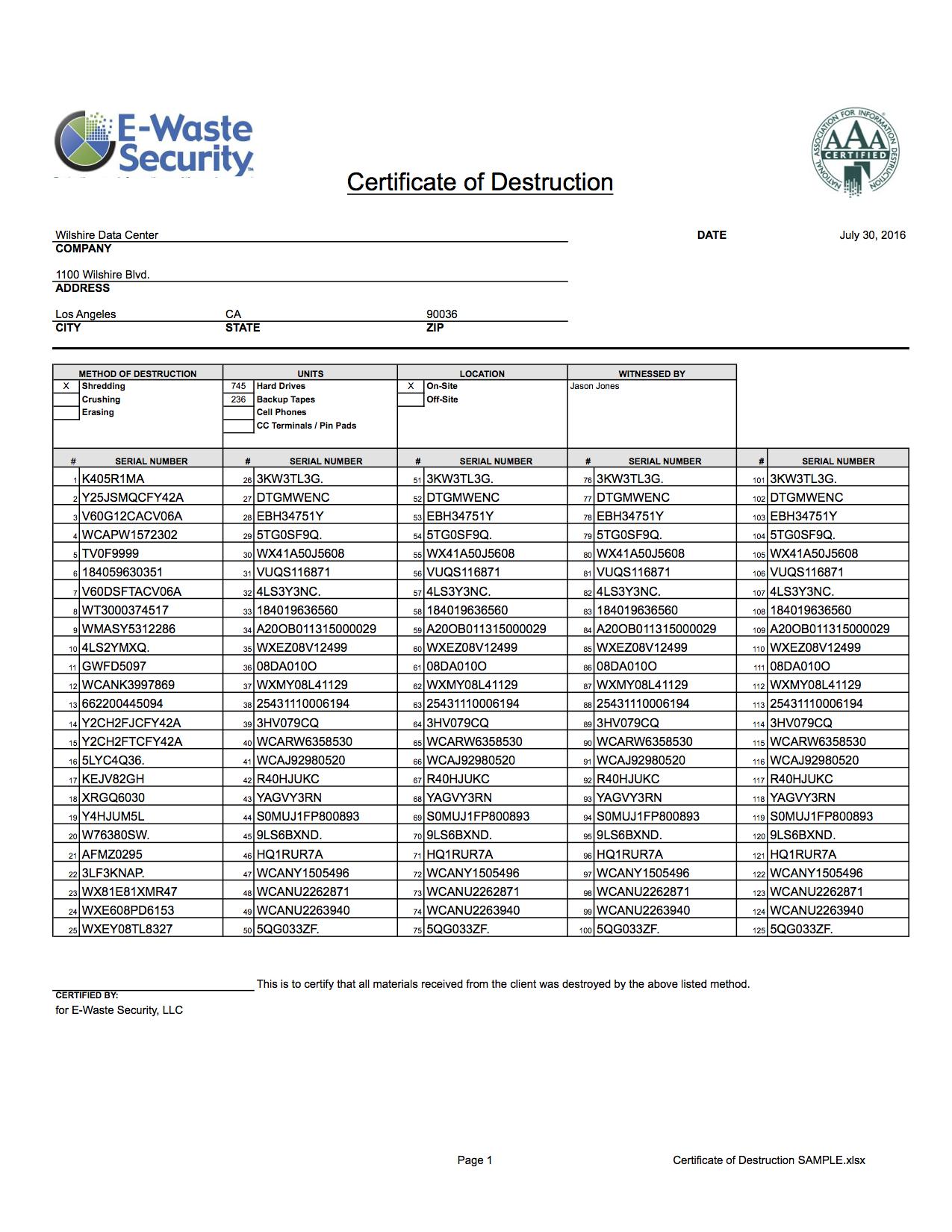 Certificate Of Destruction  Hard Drive Destruction  Ewaste Security Intended For Certificate Of Disposal Template