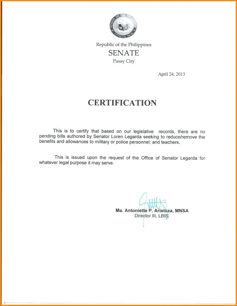 Certificate Of Employment Sample  Katieroseintimates For Certificate Of Employment Template