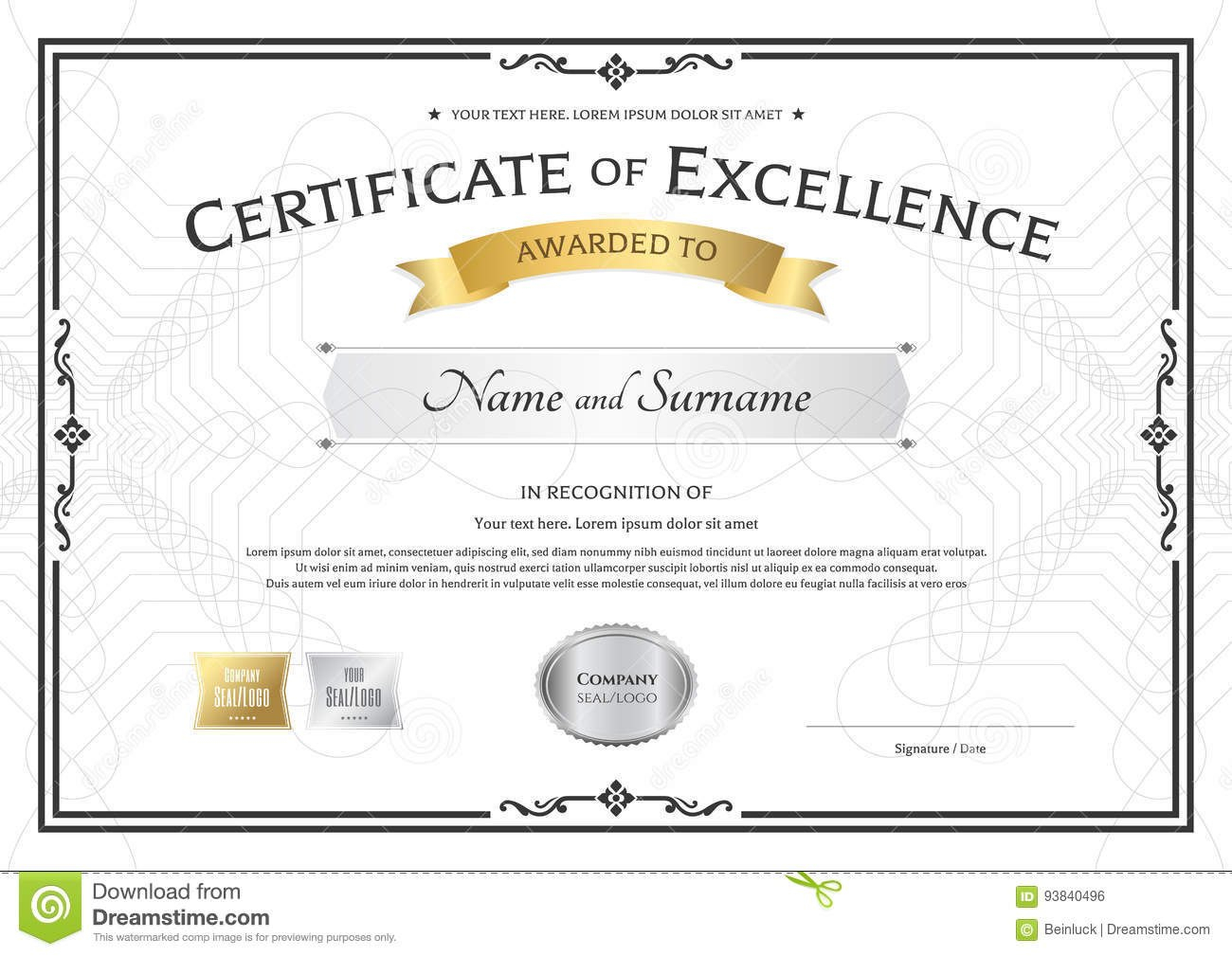 Certificate Of Excellence Template With Gold Award Ribbon On Abs Intended For Award Of Excellence Certificate Template