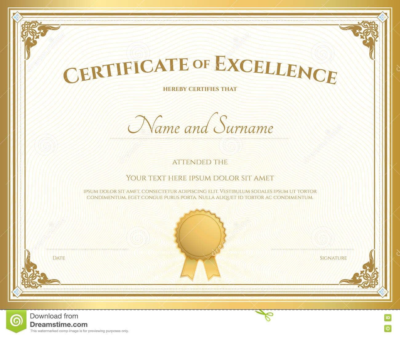 Certificate Of Excellence Template With Gold Border Stock Vector Pertaining To Free Certificate Of Excellence Template
