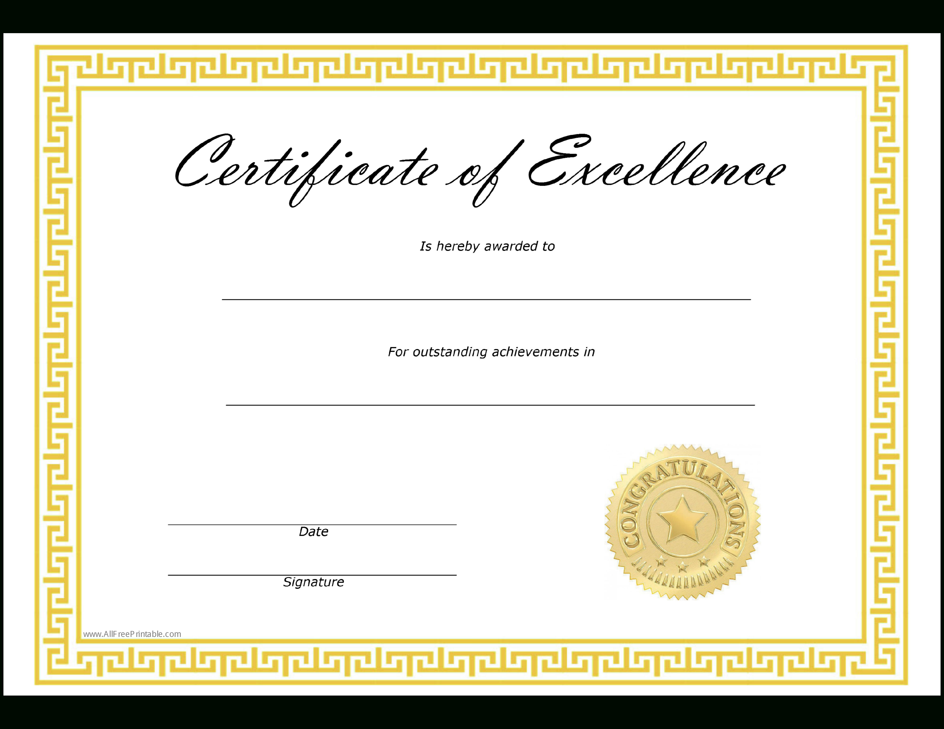 Certificate Of Excellence  Templates At Allbusinesstemplates Within Certificate Of Excellence Template Free Download