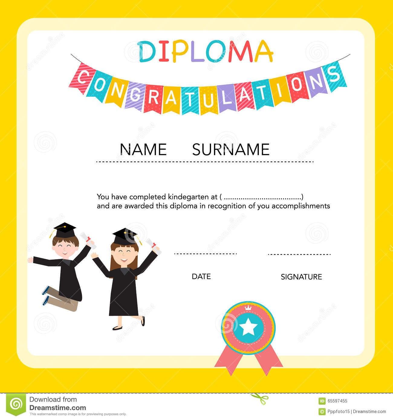 Certificate Of Kids Diploma Preschoolkindergarten Template Stock Regarding Preschool Graduation Certificate Template Free