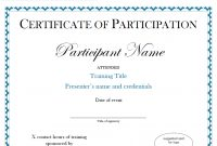 Certificate Of Participation Sample Free Download regarding Sample Certificate Of Participation Template