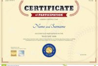 Certificate Of Participation Template In Baseball Sport Theme Stock regarding Sports Day Certificate Templates Free