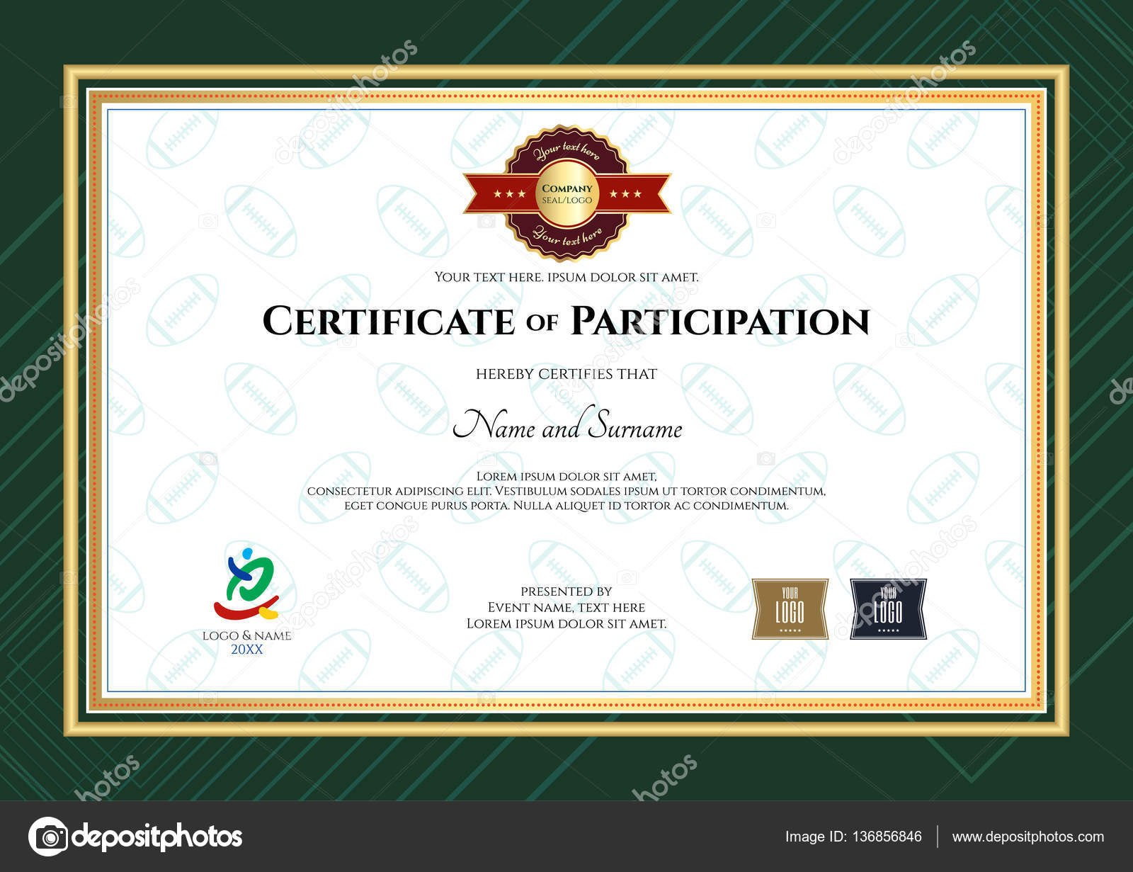 Certificate Of Participation Template In Sport Theme With Rugby Ball With Regard To Rugby League Certificate Templates