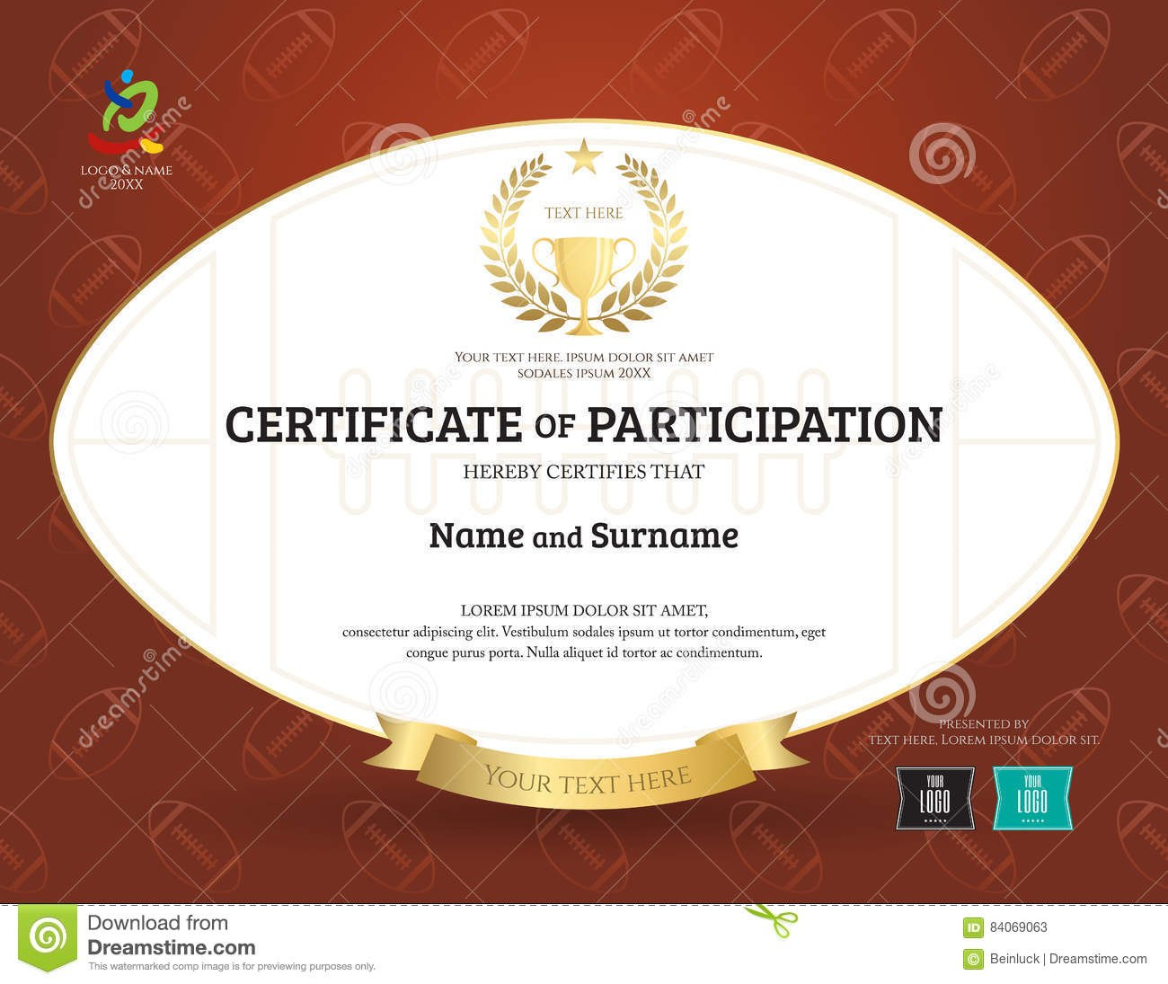 Certificate Of Participation Template In Sport Theme With Rugby For Rugby League Certificate Templates
