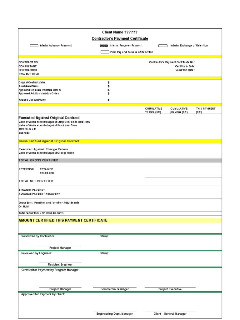 Certificate Of Payment Template  – Elsik Blue Cetane In Certificate Of Payment Template
