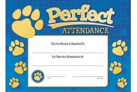 Certificate Of Perfect Attendance  Sansurabionetassociats throughout Perfect Attendance Certificate Free Template