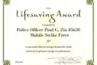 Certificate Of Performance Template  – Elsik Blue Cetane for Life Saving Award Certificate Template
