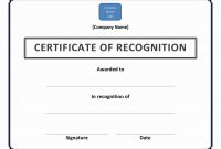 Certificate Of Recognition throughout Certificate Of Recognition Word Template