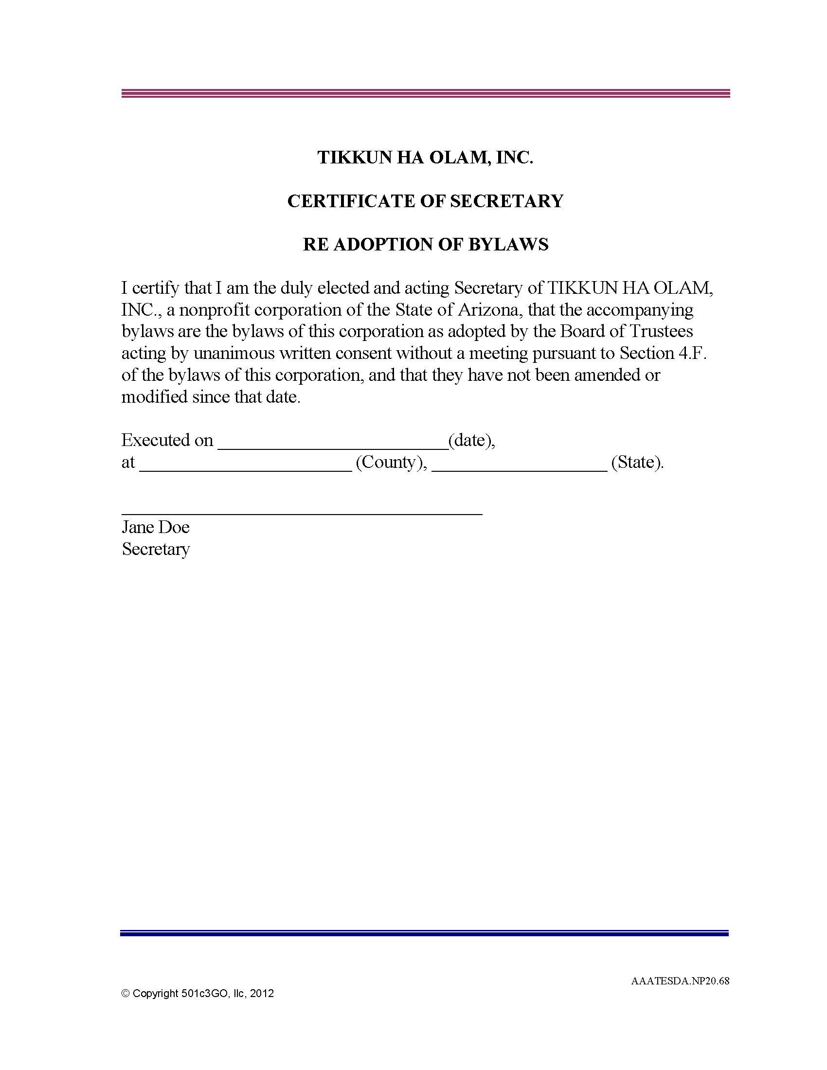 Certificate Of Secretary Re Adoption Of Bylaws  Cgo With Corporate Secretary Certificate Template