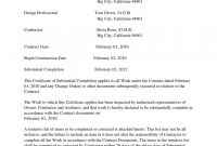 Certificate Of Substantial Completion Template With Letter On for Certificate Of Substantial Completion Template