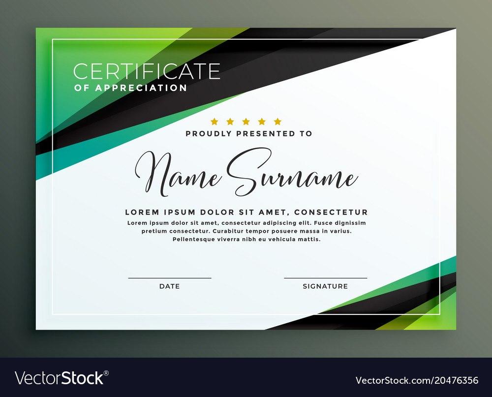 Certificate Template Design In Green Black Vector Image Regarding Design A Certificate Template