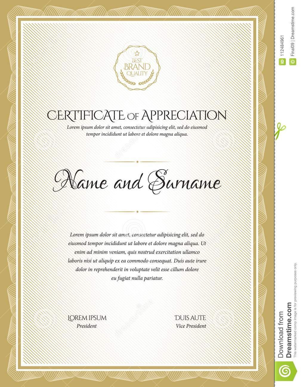 Certificate Template Diploma Currency Border Stock Vector Within Commemorative Certificate Template
