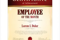 Certificate Template Employee Of The Month in Employee Of The Month Certificate Template With Picture