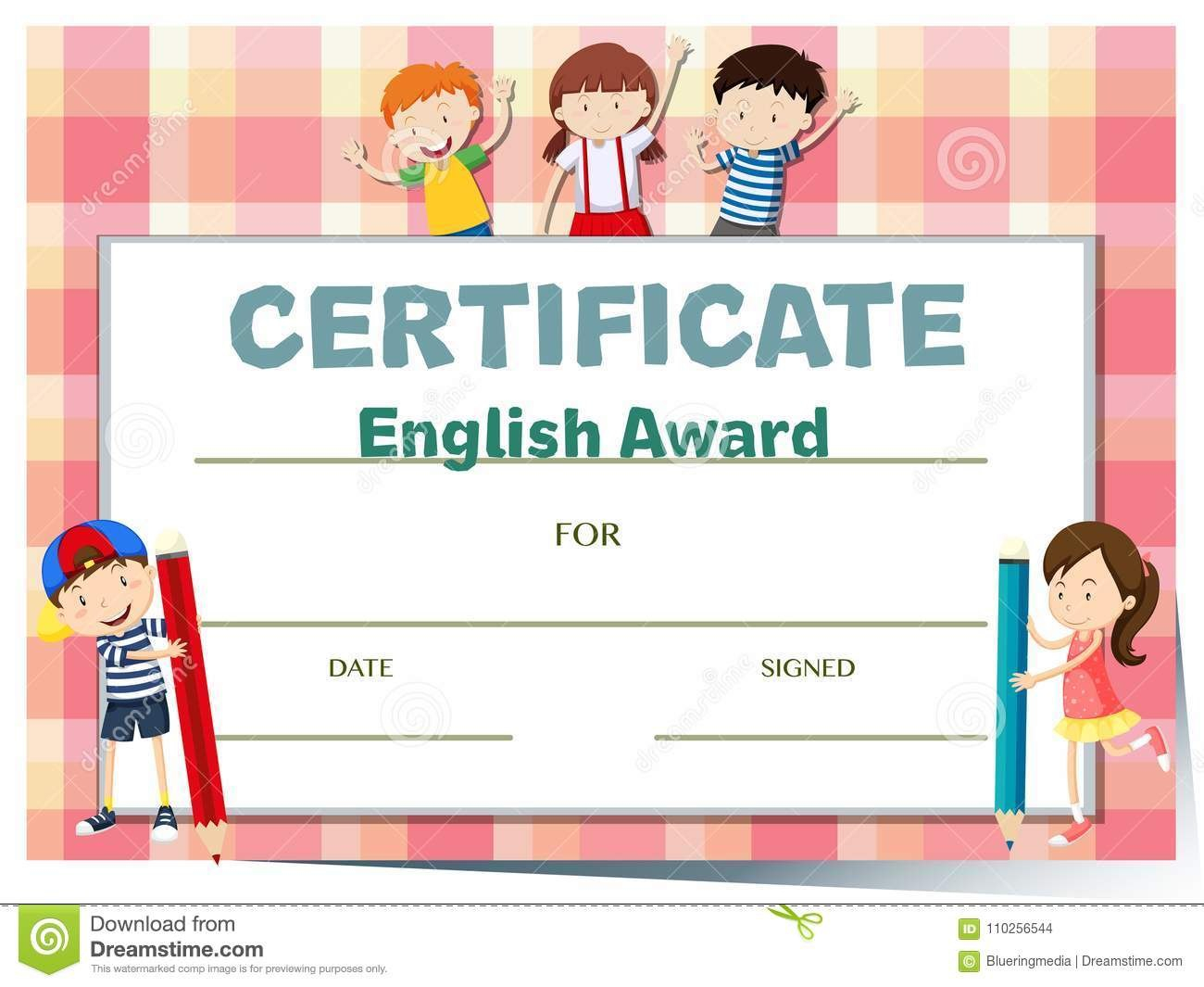 Certificate Template For English Award With Many Kids Stock Vector With Regard To Children's Certificate Template