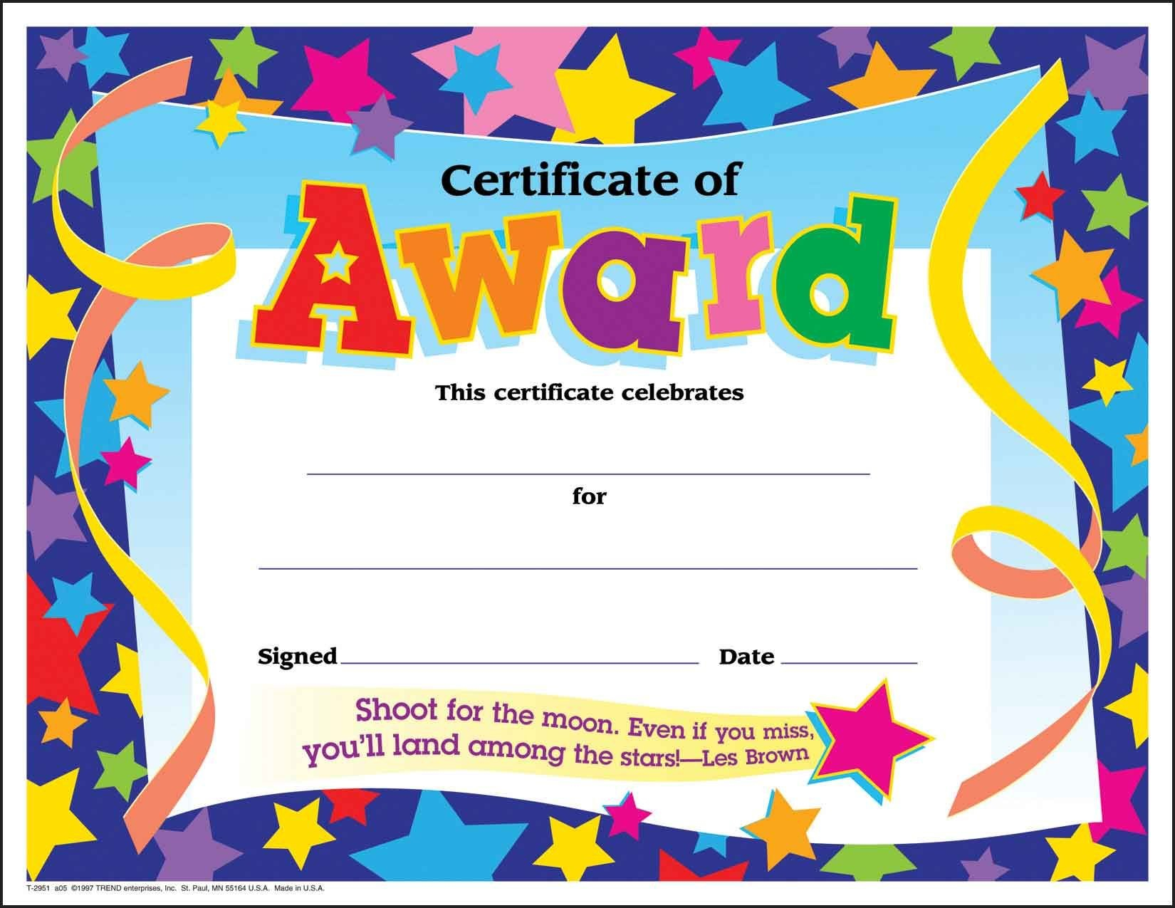 Certificate Template For Kids Free Certificate Templates Intended For Certificate Of Achievement Template For Kids