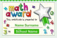 Certificate Template For Math Award Stock Vector  Illustration Of with Math Certificate Template