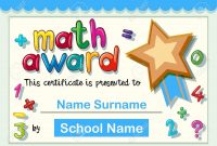 Certificate Template For Math Award With Golden Star Illustration regarding Star Award Certificate Template