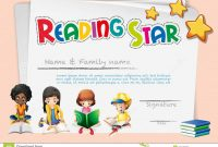 Certificate Template For Reading Star Stock Vector  Illustration Of throughout Star Award Certificate Template
