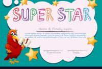 Certificate Template For Super Star Royalty Free Vector intended for Star Certificate Templates Free