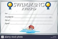 Certificate Template For Swimming Award Illustration Stock Vector inside Swimming Award Certificate Template