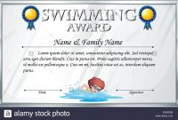 Certificate Template For Swimming Award Illustration Stock Vector intended for Swimming Award Certificate Template