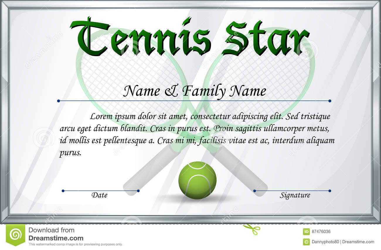 Certificate Template For Tennis Star Stock Vector  Illustration Of With Regard To Tennis Certificate Template Free