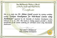 Certificate Template For Training Course  – Elsik Blue Cetane with Workshop Certificate Template
