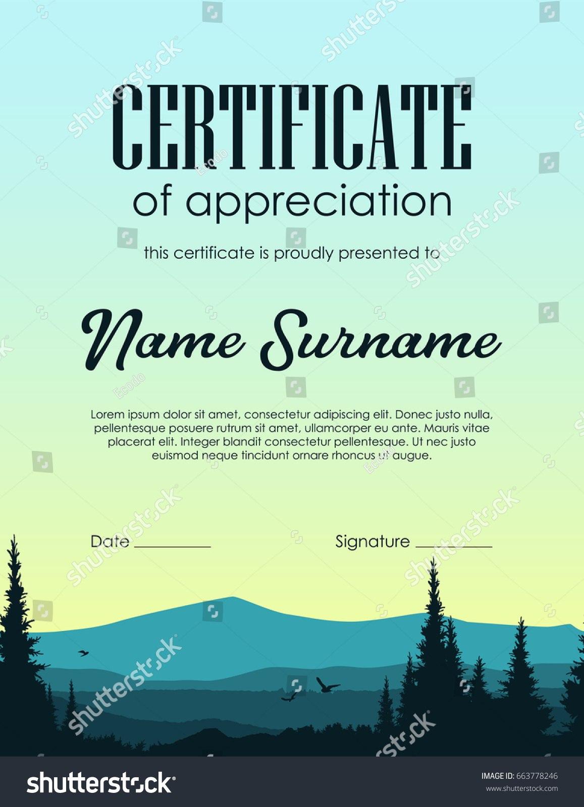 Certificate Template Forest Landscape Background Stock Vector With Landscape Certificate Templates