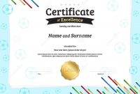 Certificate Template In Football Sport Theme With Ball Border Fr within Athletic Certificate Template