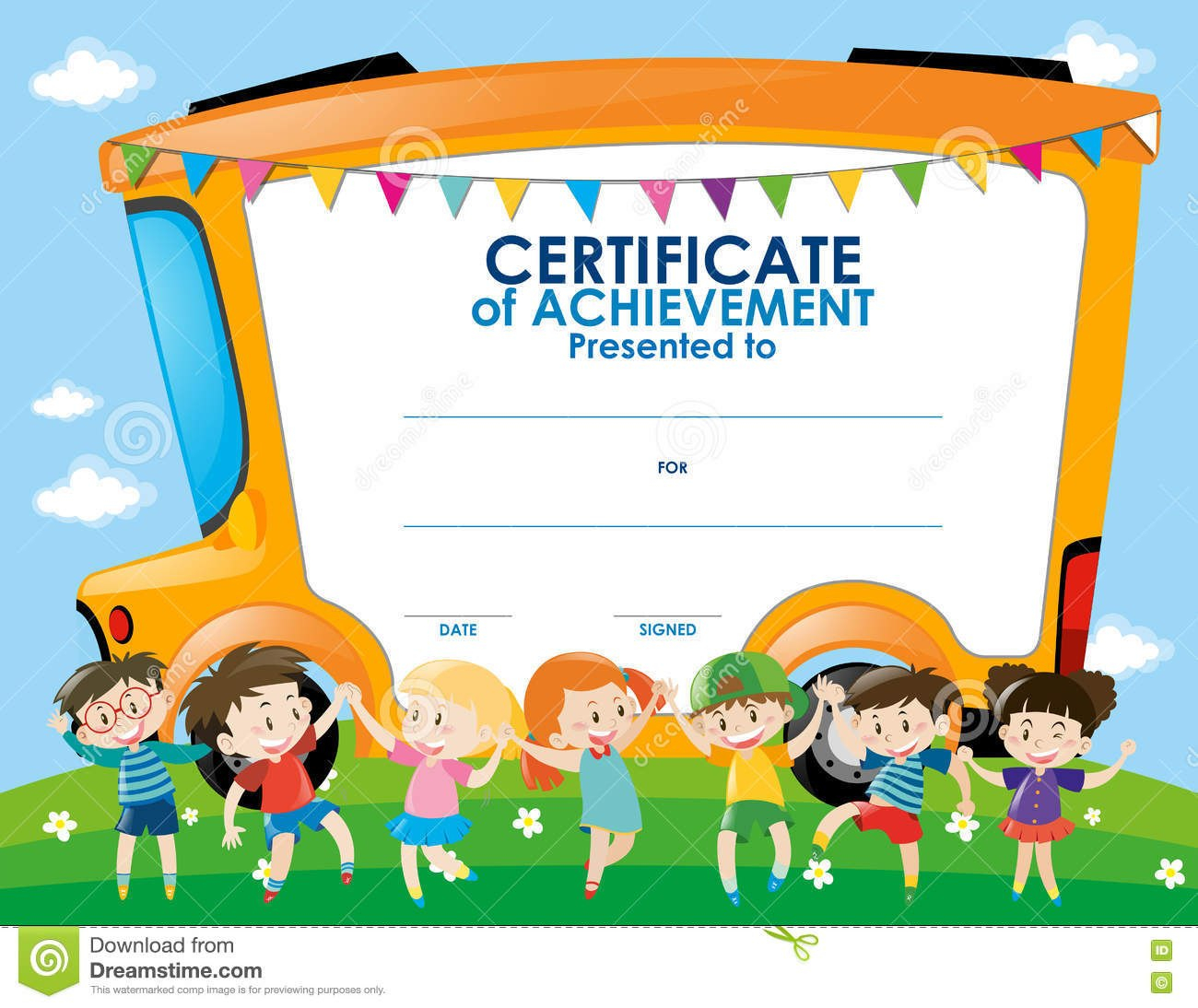 Certificate Template With Children And School Bus Stock Illustration With Regard To Children's Certificate Template