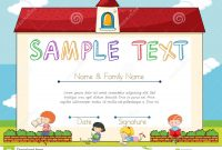 Certificate Template With Children On Background Stock Vector in Small Certificate Template