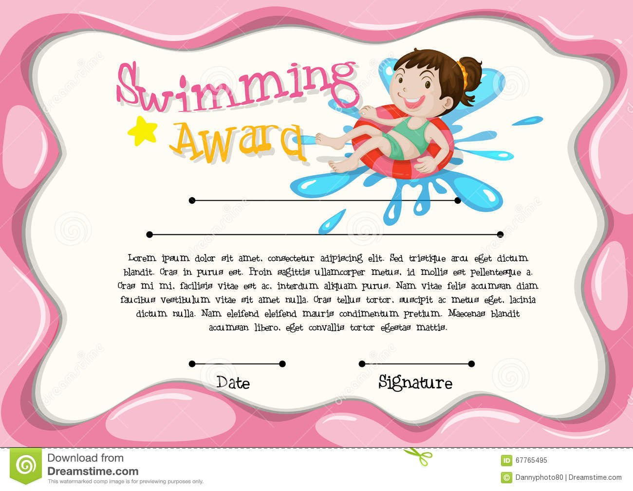 Certificate Template With Girl Swimming Stock Vector  Illustration Intended For Free Swimming Certificate Templates