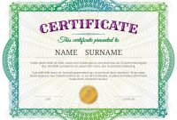 Certificate Template With Guilloche Elements Green Diploma Border for Validation Certificate Template