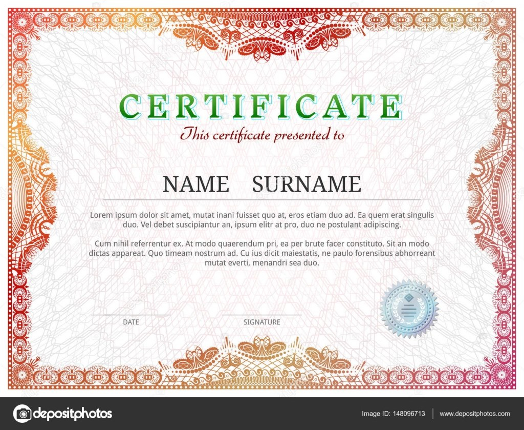 Certificate Template With Guilloche Elements — Stock Vector © Kulyk For Validation Certificate Template