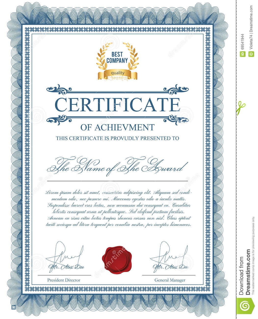 Certificate Template With Guilloche Elements Stock Vector With Regard To Validation Certificate Template