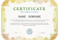 Certificate Template With Guilloche Elements Yellow Diploma intended for Validation Certificate Template