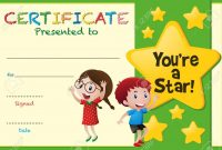 Certificate Template With Kids And Stars Illustration Royalty Free inside Star Certificate Templates Free