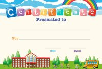 Certificate Template With Kids At School Vector Image inside Certificate Templates For School