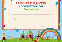 Certificate Template With Kids In Playground Stock Vector intended for Children's Certificate Template