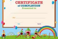 Certificate Template With Kids In Playground Vector Image for Free Kids Certificate Templates