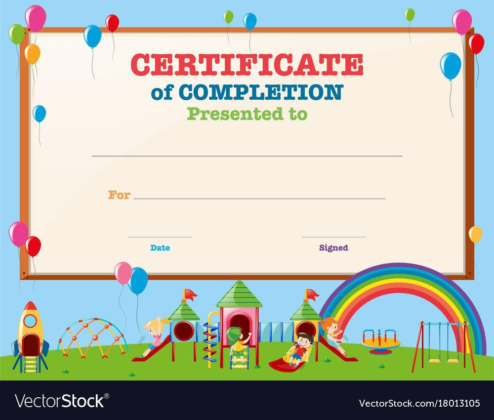 Certificate Template With Kids In Playground With Regard To Free Printable Certificate Templates For Kids