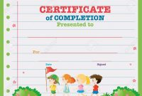 Certificate Template With Kids Walking In The Park Illustration throughout Children's Certificate Template