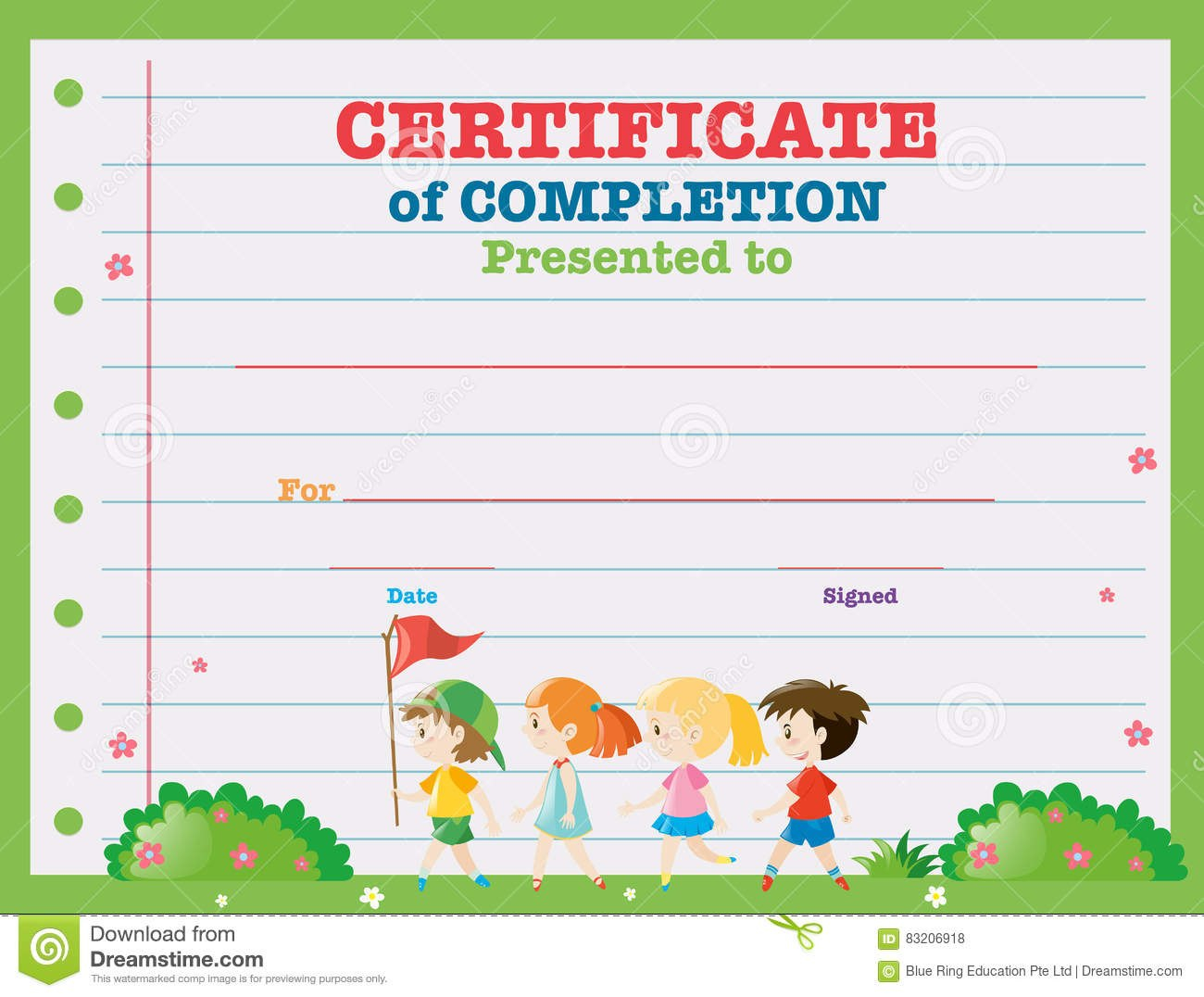 Certificate Template With Kids Walking In The Park Stock Vector Within Walking Certificate Templates