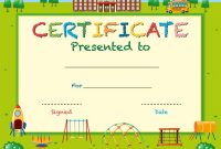 Certificate Template With School In Background Vector Image intended for Certificate Templates For School